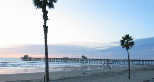 The Oceanside Pier and beach at sunset, 14 December 2008