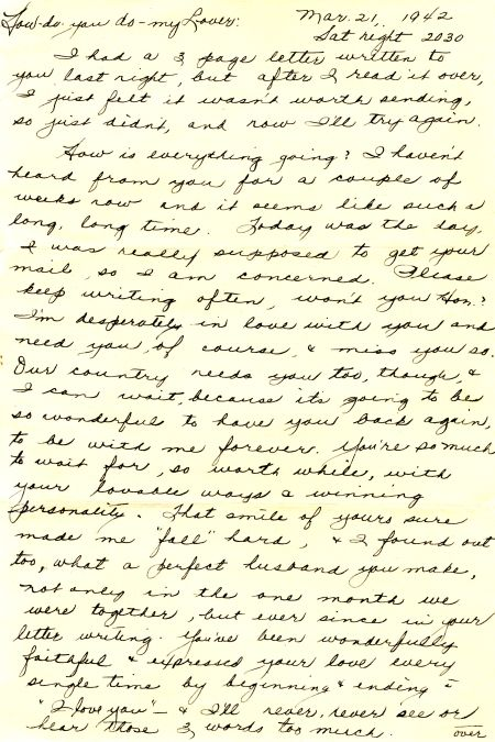 Bev to Ande: Letter of 21 March 1943