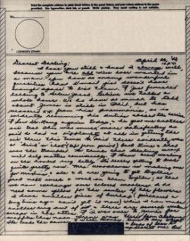 Bev to Ande: V-Mail of 26 April 1943
