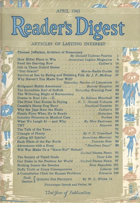 Reader's Digest, April 1943 issue: front cover