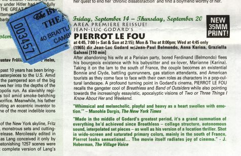 Brattle Theatre program for 20 September 2007