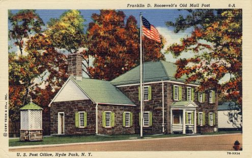 Postcard: FDR's Old Mail Post, Hyde Park