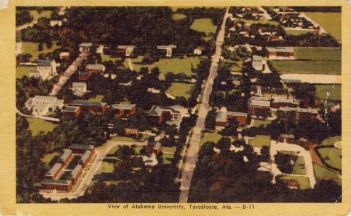 Postcard: Alabama University, Tuscaloosa