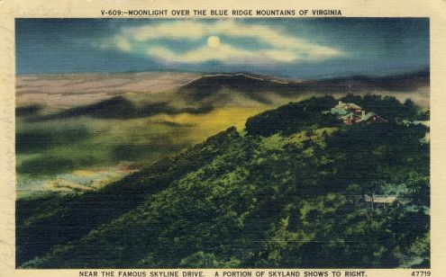Postcard: Moonlight over the Blue Ridge Mountains