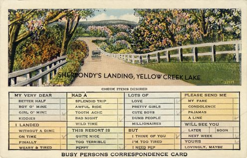 Postcard: Busy Persons Correspondence Card, Sherbondy's Landing