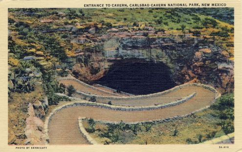 Postcard: Entrance to Carlsbad Cavern