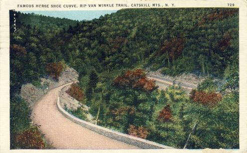 Postcard: Horse Shoe Curve, Rip van Winkle Trail, The Catskills