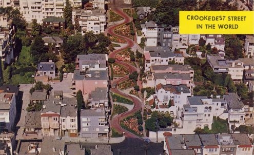 Postcard: Crookedest Street in the World