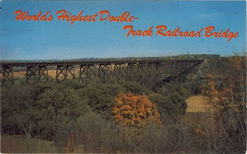postcard: World's Highest Double-Track Railroad Bridge