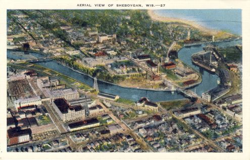 Postcard: Aerial View of Sheboygan