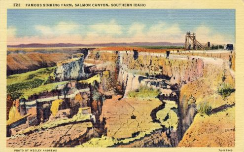 Postcard: Famous Sinking Farm, Salmon Canyon, Idaho