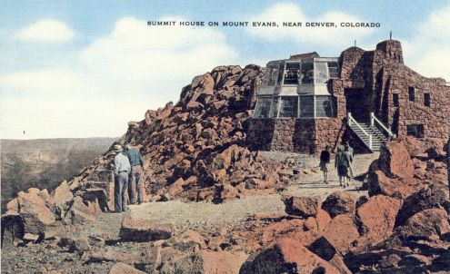 Postcard: Summit House on Mount Evans, Colorado