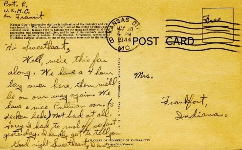 Richard to Alice: 28 May 1944 (back of postcard)