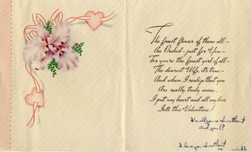 Richard to Alice: Valentine's Day 1946 (inside of card)