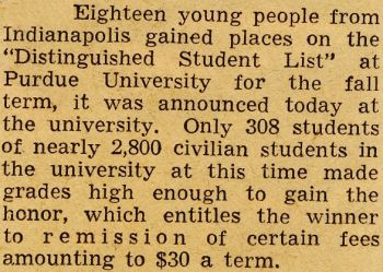 Purdue Honor Roll clipping