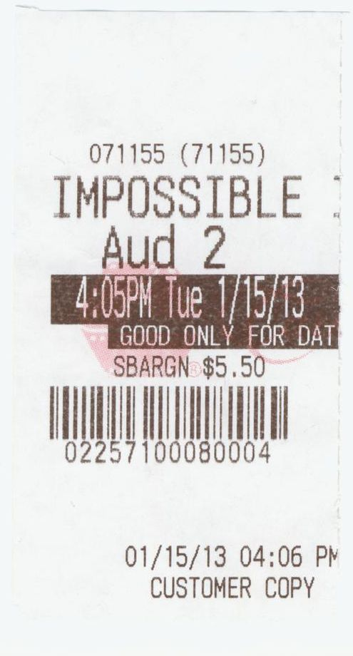 011513 Impossible ticket stub