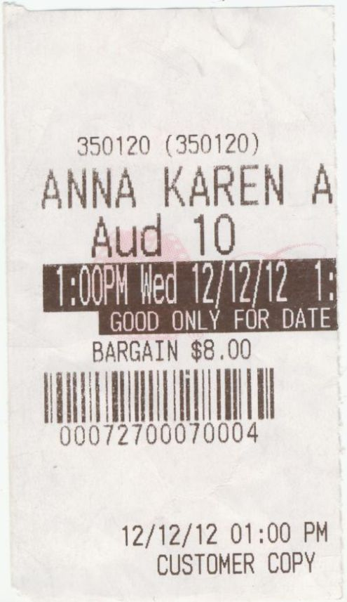 121212 Anna Karenina ticket stub