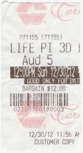 123012a Life of Pi ticket stub