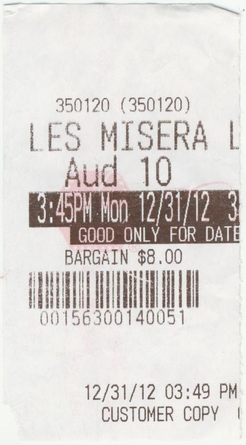 123112 Les Miserables ticket stub