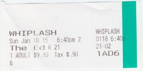 011815 Whiplash ticket stub