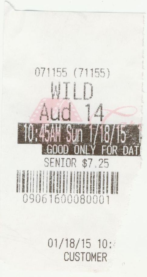 011815 Wild ticket stub