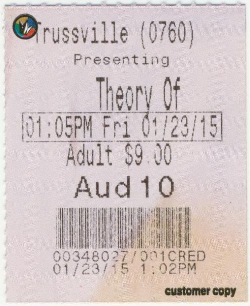 012315 Theory of Everything ticket stub