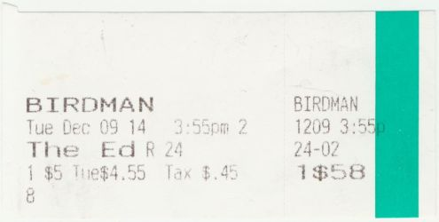 120914 Birdman ticket stub