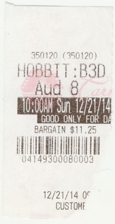 122114 Hobbit B3D ticket stub