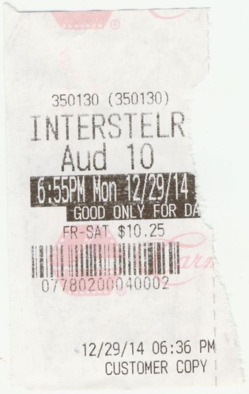 122914 Interstellar ticket stub