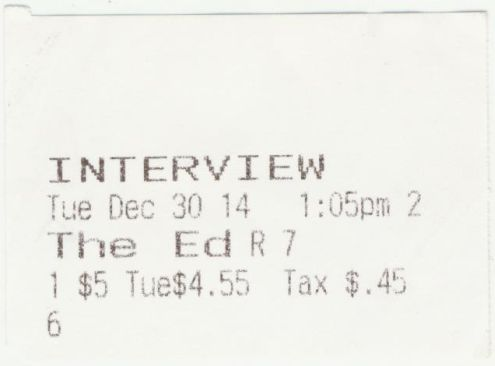 123014 Interview ticket stub